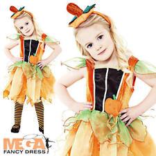 Pumpkin Fairy + Hat Girls Fancy Dress Childrens Halloween Kids Child Costume New