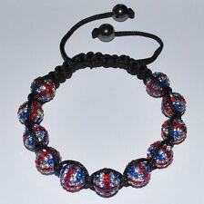Swarovski 10mm Pave Ball Beads UK Flag Macrame Shamballa Bracelet  SH102