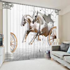 3D Horse Wheels Blockout Photo Curtain Printing Curtains Drapes Fabric Window CA