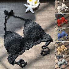 Bohemia Women Crochet Lace Bralette Knit Bra Beach Bikini Halter Crop Top Bath