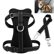 Reflective Mesh Pet Dog Car Harness & Seat Belt Clip Leads Travel for Dog S M L