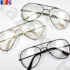 Children Kids Boys Girls Pilot Clear Lens Glasses UV400 Protected