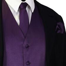 Deep Purple Tuxedo Suit Vest Waistcoat and Neck tie Hanky Set Prom Wedding Party