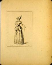 Eau forte de Cars d'après Watteau, Jeune femme élégante