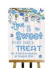 Bleu Rustique Effet Bois Love is Sweet Candy Buffet Personnalisé Mariage Signe