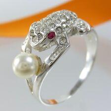 A663 Ring Frosch 925 Silber Schmuck Perle und Kristallsteine verschiedene Größen