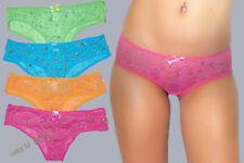 2pr Sheer Lace Multi-color Glitter Swirl See Thru Boy Shorts Bikini Panties