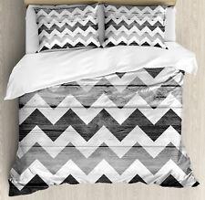 Chevron Duvet Cover Set with Pillow Shams Wood Texture Pattern Print