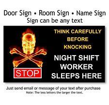 Entrance Door, Sign Plaque, Hot Skull - Night Shift Worker, Warning Knock