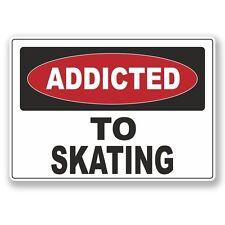 2 X adicto al patinaje Pegatina de vinilo Laptop Viaje Equipaje Coche #6550