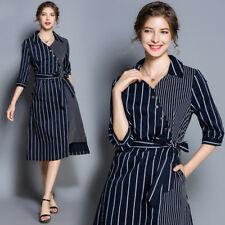 Women 3/4 Sleeve Striped V-neck Collar Slim Fit Belt OL Midi Dress Shirt Fashion