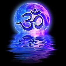 Glowing Ohm Moon Reflective T-Shirt 100% Cotton Ladies Mens Purple hindu Om Aum