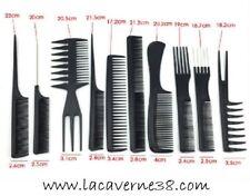 Lot de Peigne 10 pièces queue griffe fourche Afro coiffeur coiffure cheveux
