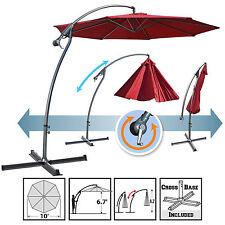 10' Cantilever Banana Patio Umbrella Sunshade Offset Hanging Canopy w Cross Base