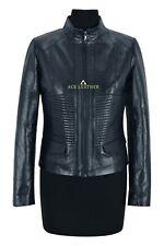 VICTORIA Ladies Jacket Navy Casual Cool Flight Coat Genuine Leather Jacket
