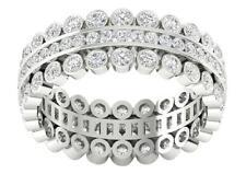 3 Row Eternity Wedding Real Diamond Ring VS1 F 2.00Ct 14Kt White Gold Appraisal