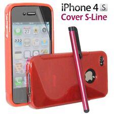 Cover Custodia Silicone Gel TPU S-Line Rosso Per iPhone 4/4G/4S + Pellicola Pen