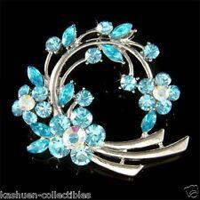 w Swarovski Crystal Blue Flower Family Friends Floral Wreath pin Brooch Xmas New