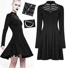 Robe évasé gothique punk lolita bandes cuir résille clous dark fashion Punkrave