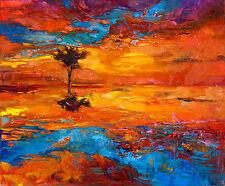 "art painting  print purple blue modern abstract landscape sunset 24"" x 20"""