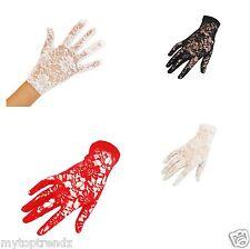 Short Fine Lace Gloves Floral Lace Short Wrist Length Gloves For Prom Wedding