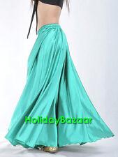 Turquoise Women Lady Satin Full Circle Belly Dance Skirt Costume Tribal S~3XL
