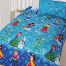 Snow Princess Quilt Doona Duvet Cover Set Girls Bedding Kids Snowman Snow Queen