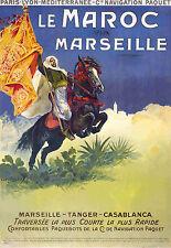 Affiche chemin de fer PLM et Cie Navigation Paquet - Le Maroc 2