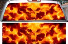 Fire flame skull car truck rear window view thru graphic