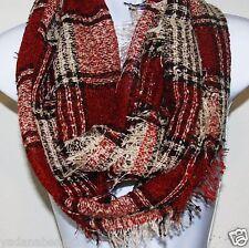 Women Fashion Plaid Check print knit Forever Infinity Scarf