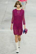 $2900 NEW NWT CHANEL Crochet Dress Red Navy 4 Pockets Mini Knit 36 38