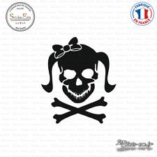 Sticker Tete de mort femme Girl Skull Noeud Decal Aufkleber Pegatinas D-338