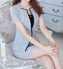 Elegante Tailleur completo donna grigio nero giacca manica corta gonna  7142