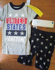 NWT Gap UNITED STATES of AWESOME Flag Stars 2 pc SHORTY PAJAMAS Size 4 OR 12