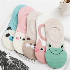 5 Paare Dame Baumwolle Tief Geschnitten Knöchel Socken Tier Muster Anti-Rutsch