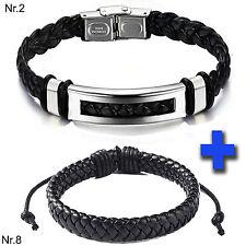 Echt Leder PU Armband für Damen Herren geflochten schwarz Edelstahl Verschluß