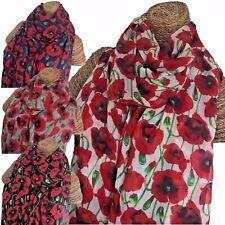 Bufanda Bufanda señoras de la amapola con diseño de calidad superior de amapolas Suave 3 Colores