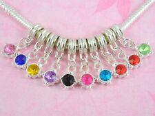 20pcs Cute Silver Charm Dangle Inlay Crystal Fit Bracelet E05