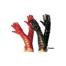 Long Lace Up Vinyl Gloves Adult Womens Halloween Costume Fancy Dress