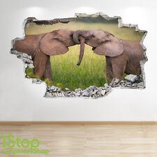 Adesivo Parete Elefante 3d Look-Camera da Letto Salotto Natura Animali adesivi murali z238