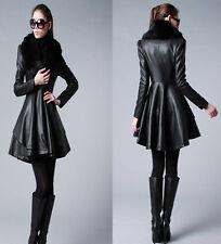 New Women's Long Slim leather jacket trench coat windbreaker fur belt overcoat