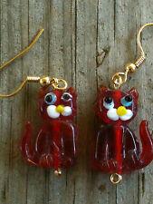 Dark Red Transparent Sitting Cat Lampwork Glass Earrings