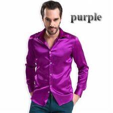 UOMO finta seta Satin camicia top stile Casual camicia a maniche lunghe party