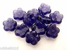 25 8x3mm Flat Flower Beads: Tanzanite