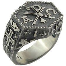 Knights Templar IHSV Masonic Chi Rho Silver Ring Cross of Constantine US Sizes