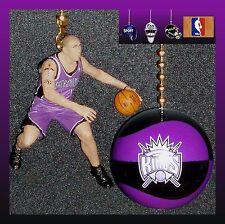 SACRAMENTO KINGS MIKE BIBBY FIGURE & LOGO OR NBA BASKETBALL CEILING FAN PULLS