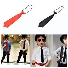 Bambini Cravatta Skinny Classico Nero Nozze Cravatta Bambino Ragazzi Plain Smart Festa Slim