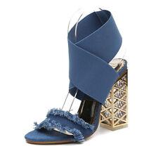 zuecos zapatillas 9 cm elegantes negro talón cuadrado sandalias como piel 9978