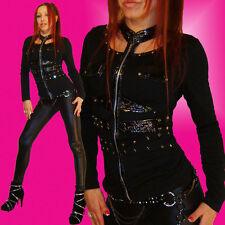 Punky Shirt / schwarze Jacke Nieten u. Knautschlack Akzente Gothic Style Zipper