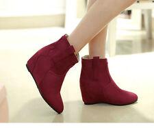 Botines botas zapatos de mujer de cuña 6 cm como piel cómodo rojo 9124